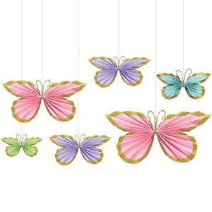 Glitter Butterfly Paper Fan Decorations 6ct