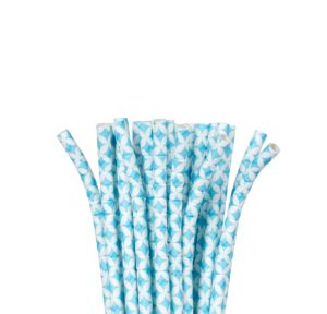 Caribbean Blue Diamond Flexible Paper Straws 24ct
