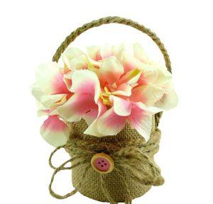 Burlap Pink Flower Pot