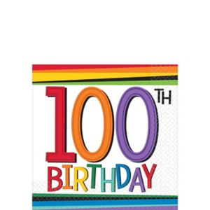 Rainbow 100th Birthday Beverage Napkins 16ct