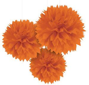 Orange Fluffy Decorations 3ct