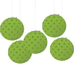 Mini Kiwi Green Polka Dot Paper Lanterns 5ct