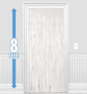 White Fringe Doorway Curtain