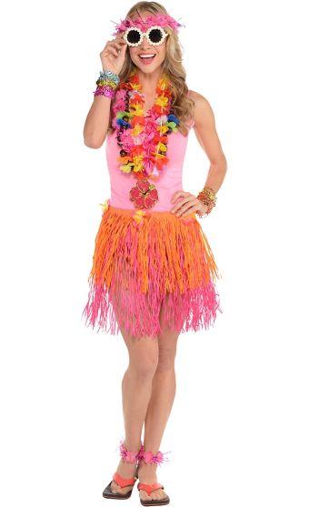 Adult Floral Luau Costume Accessory Kit