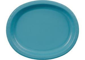 Caribbean Blue Paper Oval Plates 20ct