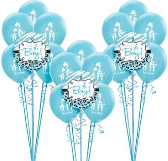 Blue Safari Boy Baby Shower Balloon Kit 18ct