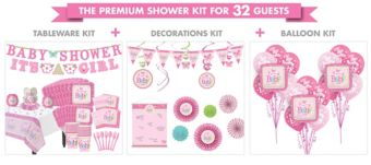 Welcome Baby Girl Premium Baby Shower Kit for 32 Guests
