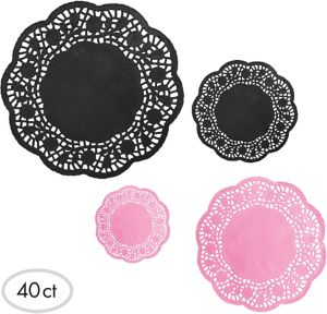 Pink & Black Doilies 40ct