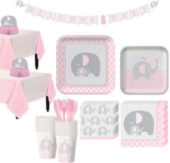 Pink Baby Elephant Tableware Kit 32 Guests