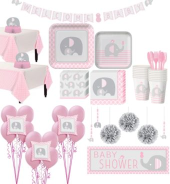 Pink Baby Elephant Premium Baby Shower Kit for 32 Guests