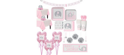 Pink Baby Elephant Baby Shower Premium Kit for 32 Guests