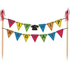 Multicolor Graduation Pennant Banner Cake Topper