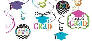 Dream Big Graduation Swirl Decorations 12ct