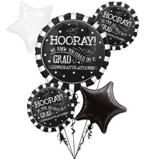 Giant Chalk Hooray Graduation Balloon Bouquet with Balloon Weight 6pc