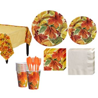 Elegant Leaves Fall Tableware Kit for 16 Guests
