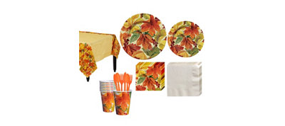 Elegant Leaves Fall Tableware Kit for 16 Guests