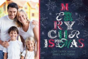 Custom Chalkboard Retro Christmas Tree Photo Card