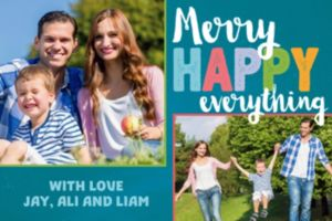 Custom Colorful Merry Everything Collage Photo Card