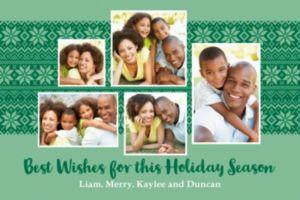 Custom Mint Fair Isle Collage Photo Card