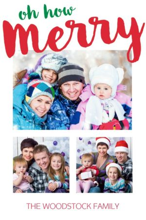 Custom Oh How Merry Collage Photo Card