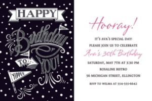 Custom Chalkboard Dots Birthday Invitation