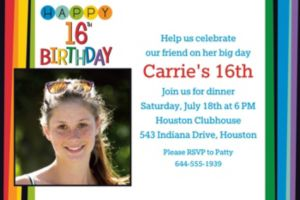 Custom Rainbow 16th Birthday Photo Invitation