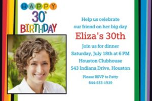 Custom Rainbow 30th Birthday Photo Invitation