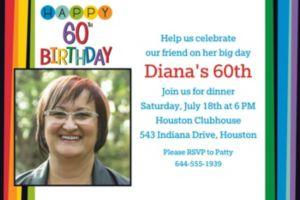Custom Rainbow 60th Birthday Photo Invitation