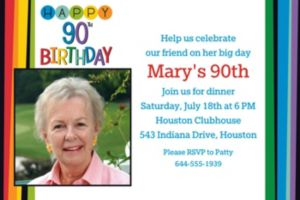 Custom Rainbow 90th Birthday Photo Invitation