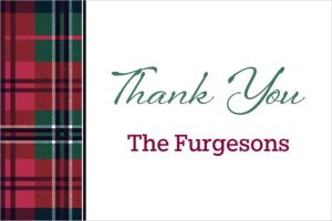 Custom Holiday Plaid Thank You Note