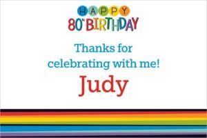 Custom Rainbow 80th Birthday Thank You Note