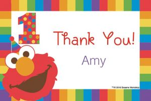 Custom Elmo 1st Birthday Thank You Note
