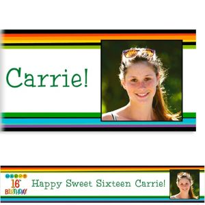 Custom Rainbow 16th Birthday Photo Banner