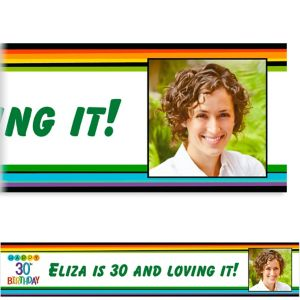 Custom Rainbow 30th Birthday Photo Banner