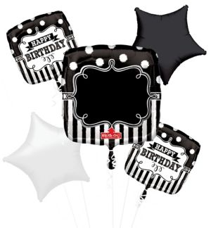 Personalized Chalkboard Dots Birthday Balloon Bouquet 5pc