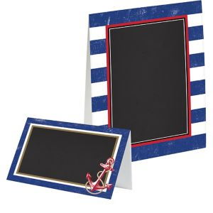 Striped Nautical Chalkboard Tent Cards 8ct