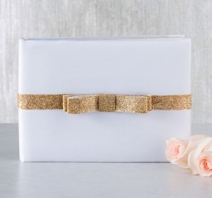 Glitter Gold Bow Guest Book