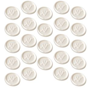 White Heart Wax Envelope Seals 24ct