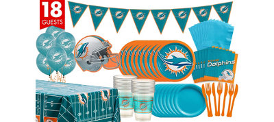 Miami Dolphins Deluxe Party Kit for 18 Guests