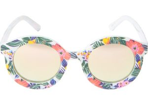 Floral Mirrored Round Sunglasses