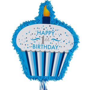 Pull String Blue Cupcake 1st Birthday Pinata