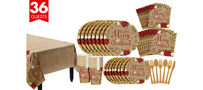Merry Little Christmas Kraft Tableware Kit for 36 Guests