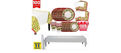 Winter Holly Tableware Kit for 100 Guests