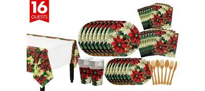 Regal Poinsettia Tableware Kit for 16 Guests