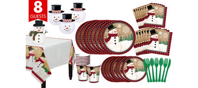Winter Wonder Snowman Tableware Kit for 8 Guests