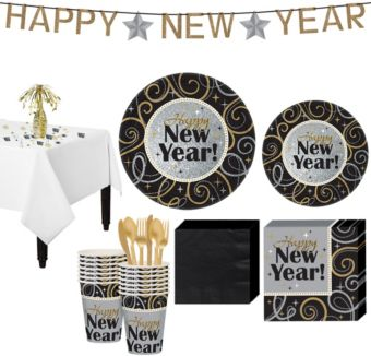 Sparkling NY Party Super Tableware Kit for 16 guests
