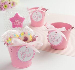 Pink Metal Pail Baby Shower Favor Kit 8ct