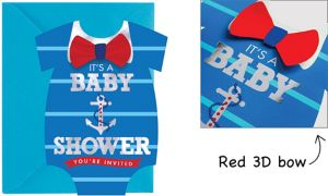 Premium Blue Nautical Snapsuit Baby Shower Invitations 8ct