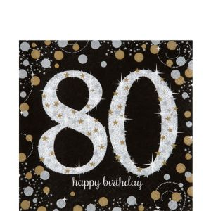 80th Birthday Lunch Napkins 16ct - Sparkling Celebration