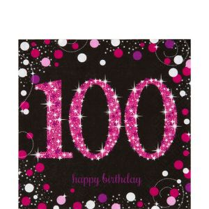 100th Birthday Lunch Napkins 16ct - Pink Sparkling Celebration